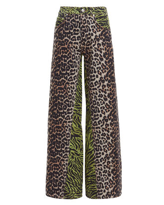 Mixed Animal Print Jeans, MULTI, hi-res
