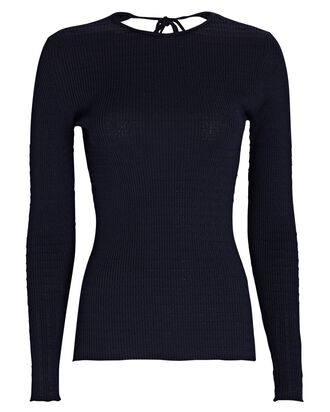 Open Back Knit Wool Top, NAVY, hi-res
