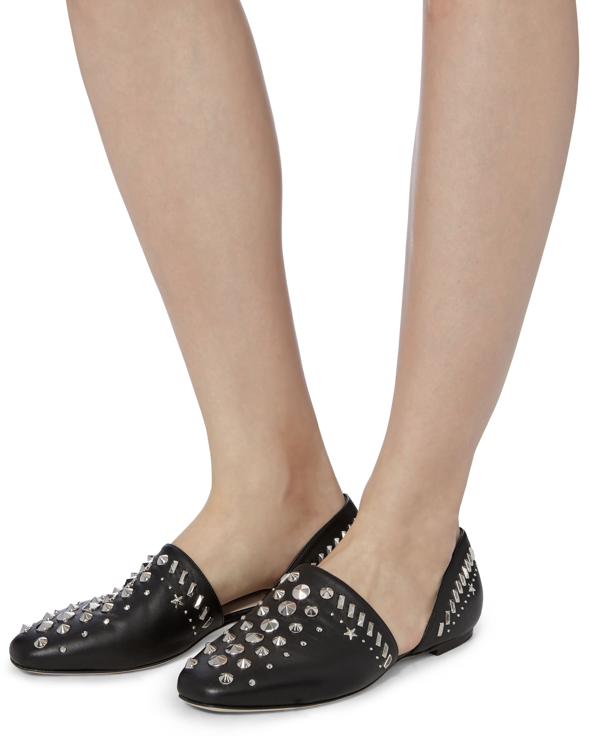 Globe Silver Stud Leather Flats, BLACK, hi-res