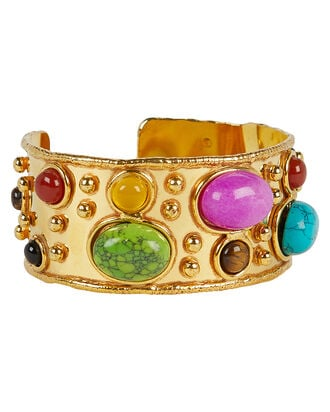 Byzantine Gemstone Cuff, GOLD, hi-res