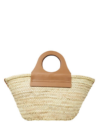 Cabas Straw Tote Bag, BEIGE/BROWN, hi-res