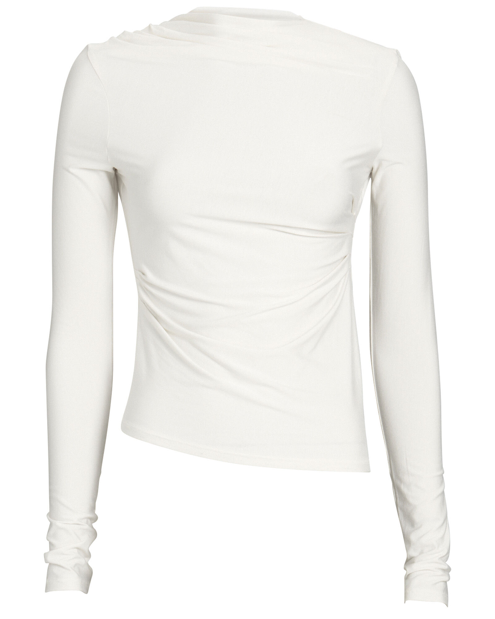 Selma Ruched High Neck Top, IVORY, hi-res