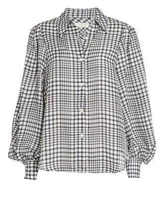 Hana Checked Blouse, BLACK/WHITE, hi-res