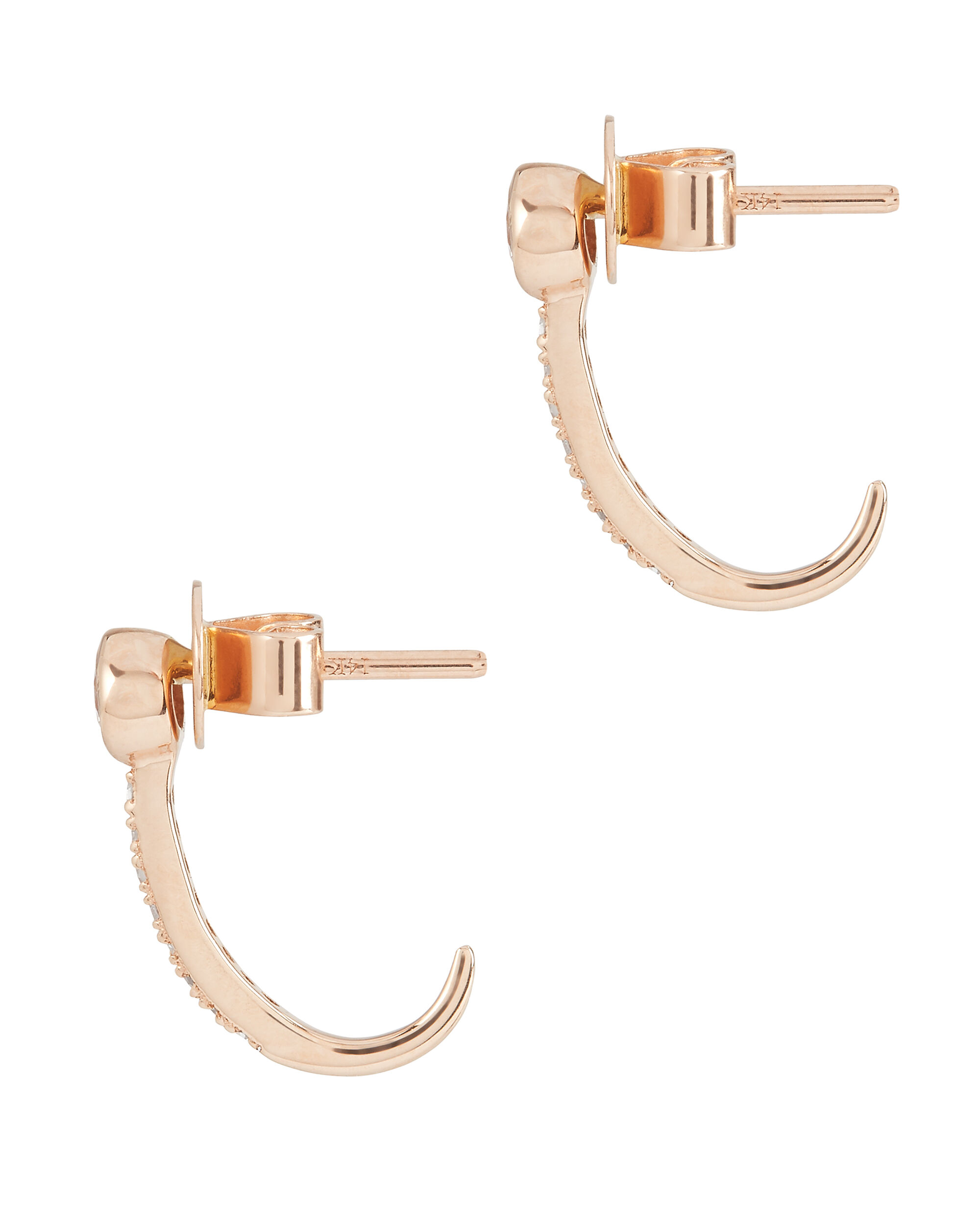 J Stud Earring, GOLD, hi-res