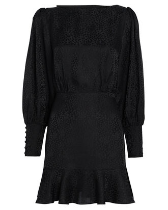 Nicola Cheetah Jacquard Silk Dress, BLACK, hi-res