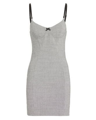 Houndstooth Bodycon Dress, BLK/WHT, hi-res