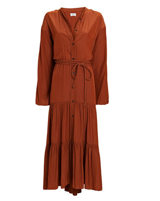 Jenine Tie-Waist Midi Dress, BROWN, hi-res