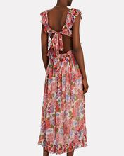 Poppy Floral Silk Midi Dress, PINK/RED, hi-res