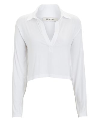 Cropped Pima Cotton Polo Top, WHITE, hi-res