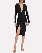 Ruched Asymmetic Jersey Dress, BLACK, hi-res