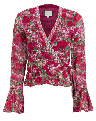 Stacia Floral Wrap Top, RED/PINK/FLORAL, hi-res