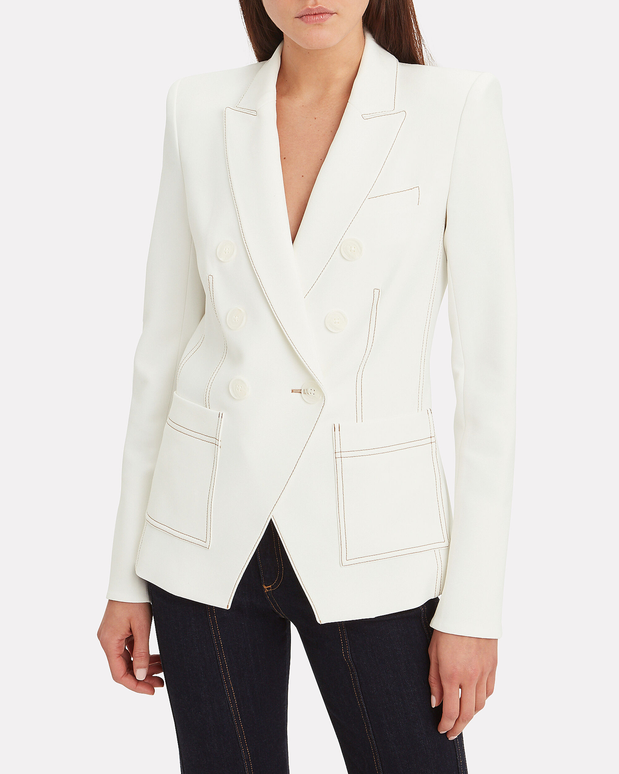 Cosmo Dickey Double Breasted Blazer, IVORY, hi-res