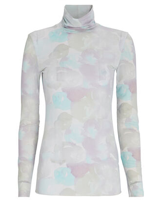 Watercolor Printed Mesh Turtleneck Top, PALE PURPLE/BLUE, hi-res