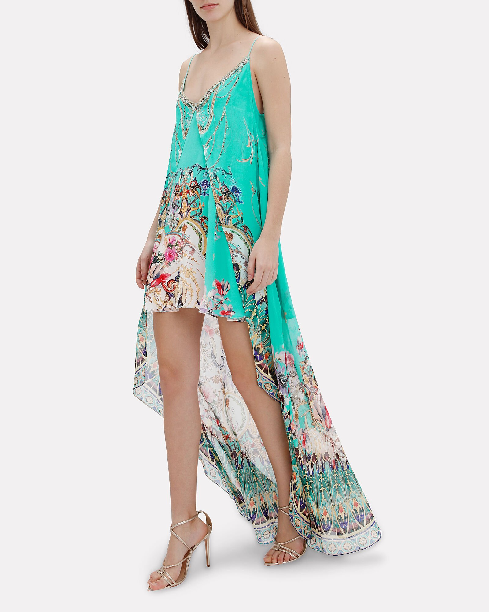 Overlay Printed High-Low Dress, TURQUOISE/ ABSTRACT, hi-res