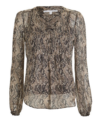 Lowell Snake-Printed Chiffon Blouse, BEIGE/PYTHON, hi-res