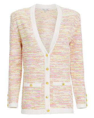 Chavri Tweed Cardigan, yellow/white/tweed, hi-res