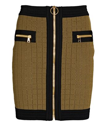Zip Front Knit Mini Skirt, OLIVE/ARMY, hi-res