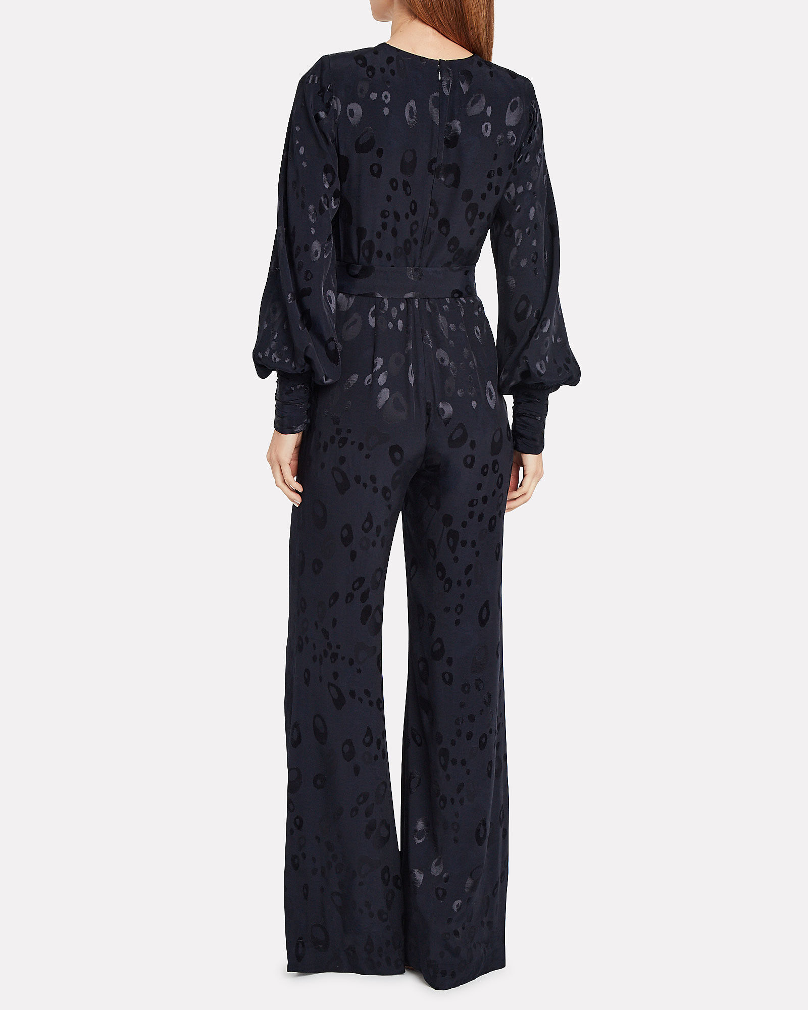 Suna Animal Jacquard Jumpsuit, NAVY, hi-res