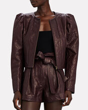 Kyra Cropped Leather Jacket, BURGUNDY, hi-res