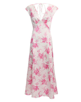 Pink Floral V-Neck Midi Dress, MULTI, hi-res