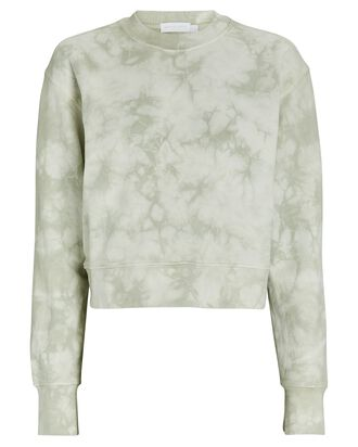 Cropped Tie-Dye Sweatshirt, LIGHT GREEN, hi-res