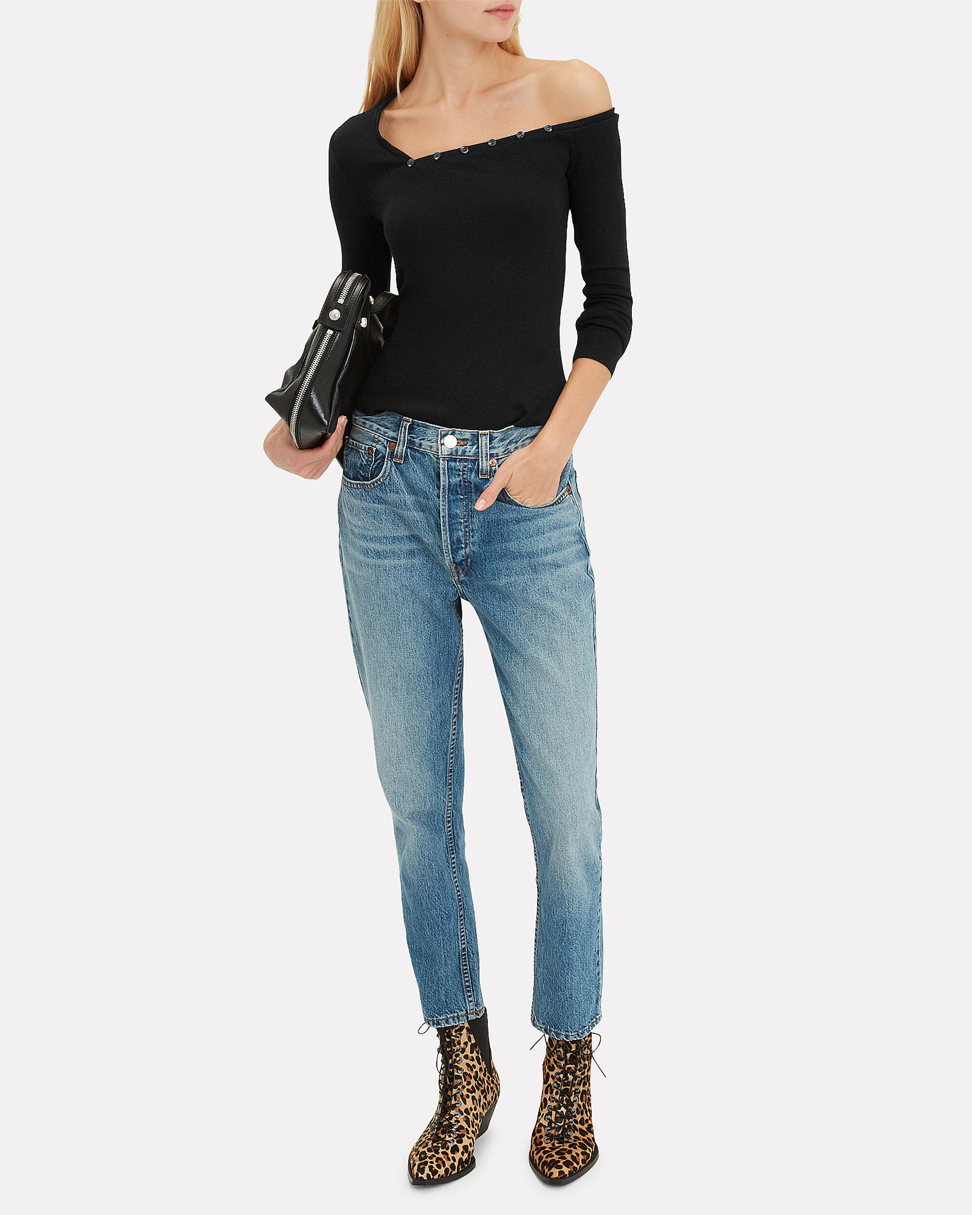Tilted Henley Top, BLACK, hi-res