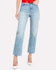 High-Rise Straight Leg Colorblocked Jeans, LIGHT PINK/RED/BLUE DENIM, hi-res