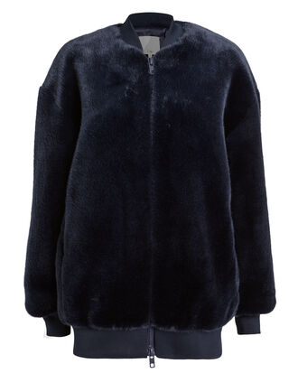 Navy Faux Fur Track Jacket, NAVY, hi-res