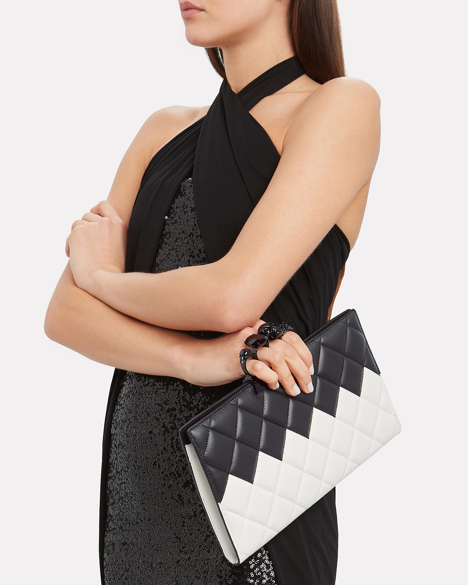 Skull Four Ring Quilted Clutch, BLACK/WHITE, hi-res