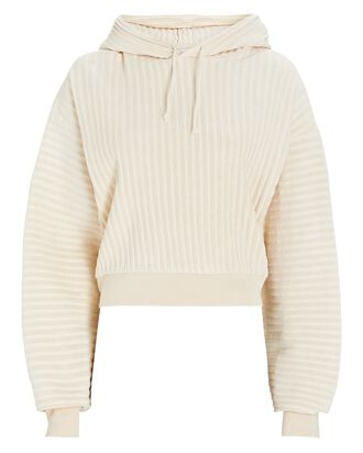 Cropped Ribbed Terry Sweatshirt, IVORY, hi-res