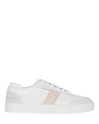 Dunk Low-Top Leather Sneakers, WHITE/PINK, hi-res