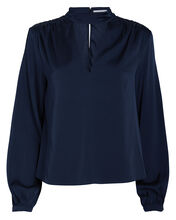 Elaine Silk Blouse, NAVY, hi-res