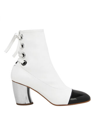 Cap Toe Silver Heel White Booties, WHITE, hi-res