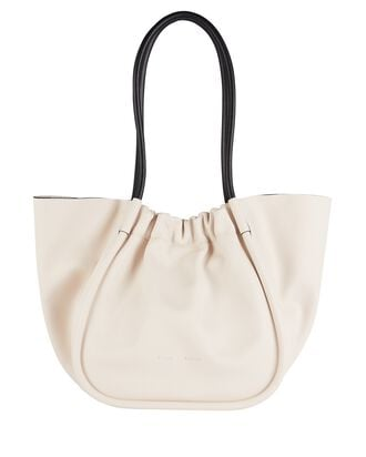 Ruched L Leather Tote, WHITE, hi-res