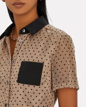 Hillary Cropped Dot Tulle Shirt, MULTI, hi-res
