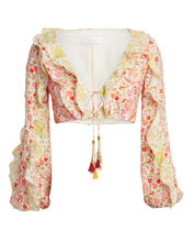 Goldie Ruffled Cropped Blouse, IVORY/FLORAL, hi-res