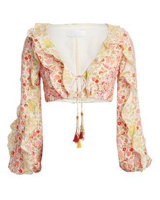 Goldie Ruffled Cropped Blouse, MULTI, hi-res