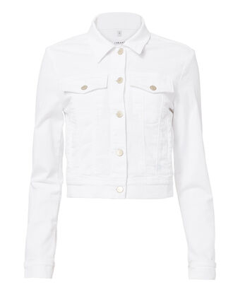 Harlow White Shrunken Jacket, WHITE, hi-res