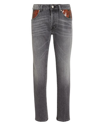 Jolly Cropped Python-Trimmed Jeans, GREY DENIM, hi-res