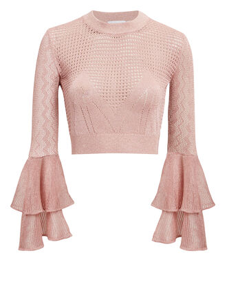 Blush Lurex Knit Crop Top, BLUSH, hi-res