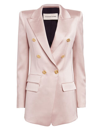 Satin Double Breasted Blazer, PINK, hi-res