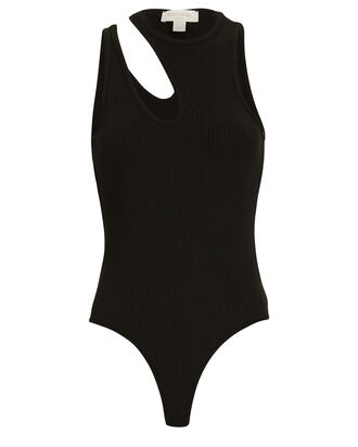 Rib Knit Cut-Out Bodysuit, BLACK, hi-res