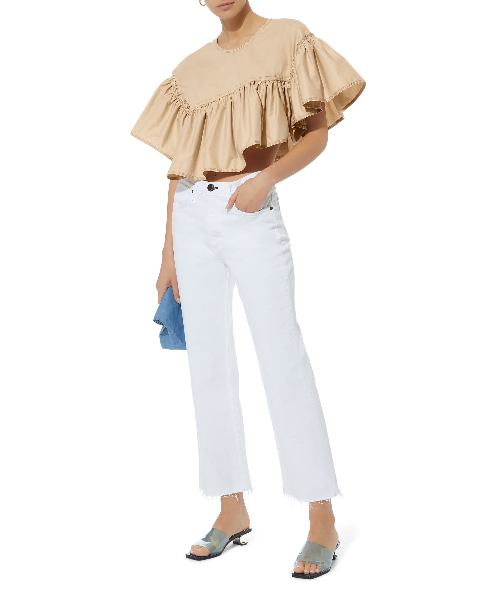 Flamenco Cropped Ruffle Top, BEIGE, hi-res