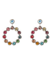 Bella Crystal Drop Hoop Earrings, RAINBOW, hi-res