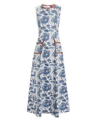 Bait Toile Sleeveless Midi Dress, WHITE/BLUE, hi-res