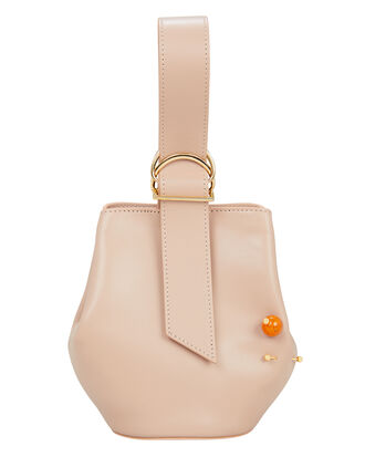 Double Piercing Pink Leather Bucket Bag, ROSE PINK, hi-res