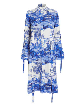Zenith Fluid Button Dress, BLUE/WHITE/PRINT, hi-res