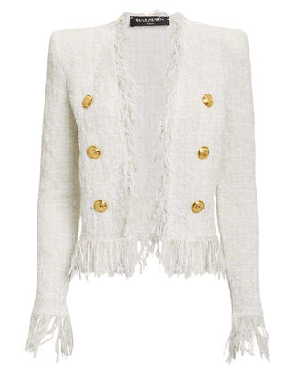 White Tweed Fringe Jacket, WHITE, hi-res