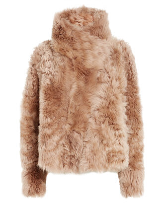 Reversible Shearling Coat, NUDE, hi-res