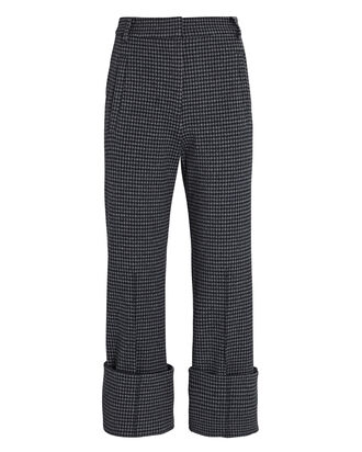 Camille Cropped Check Cuff Pants, BLACK/GREY, hi-res